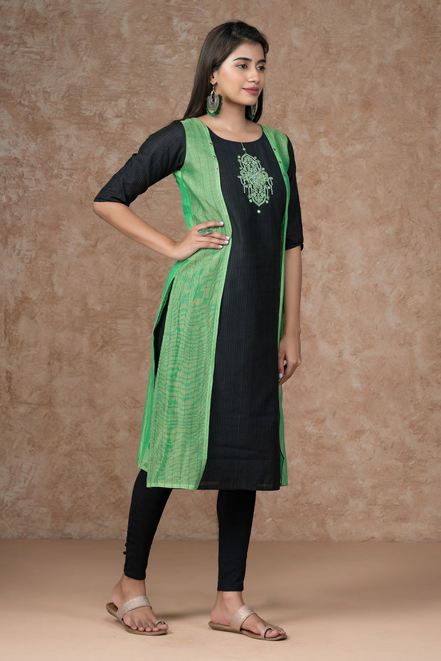 Contemporary mirror embroidered kurta - Green