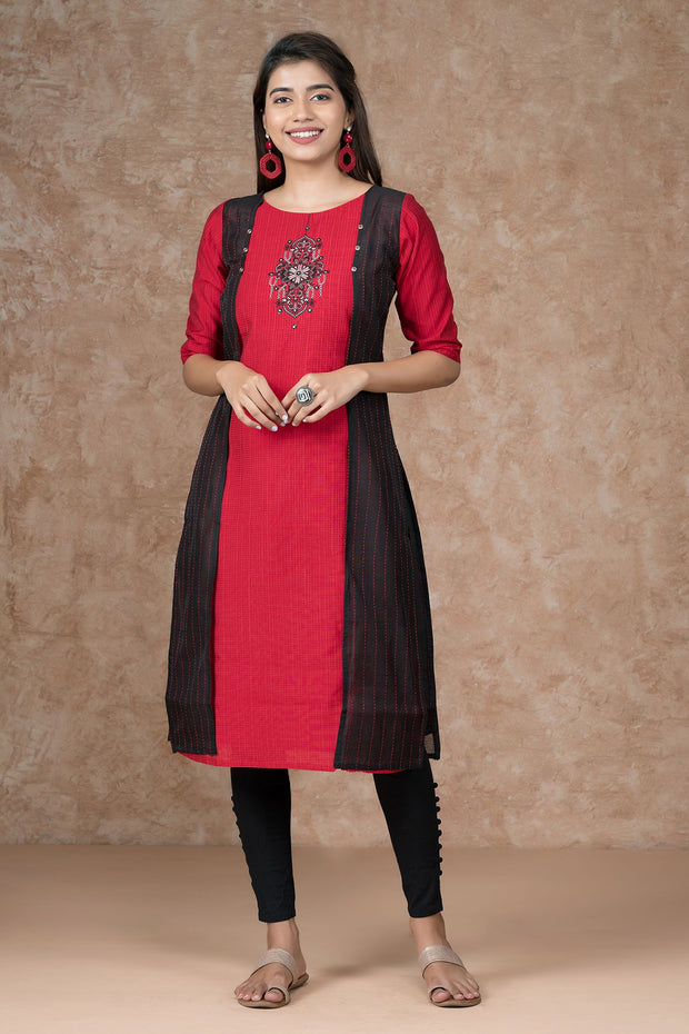 Contemporary mirror embroidered kurta - Red