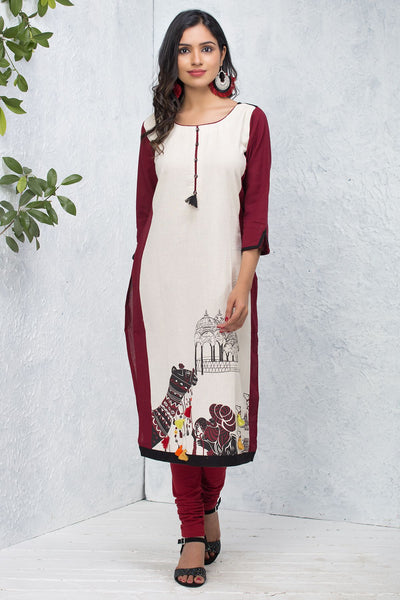 Abstract Camel Design With Tassel Kurti – Off-White & Maroon - Maybell Womens Fashion