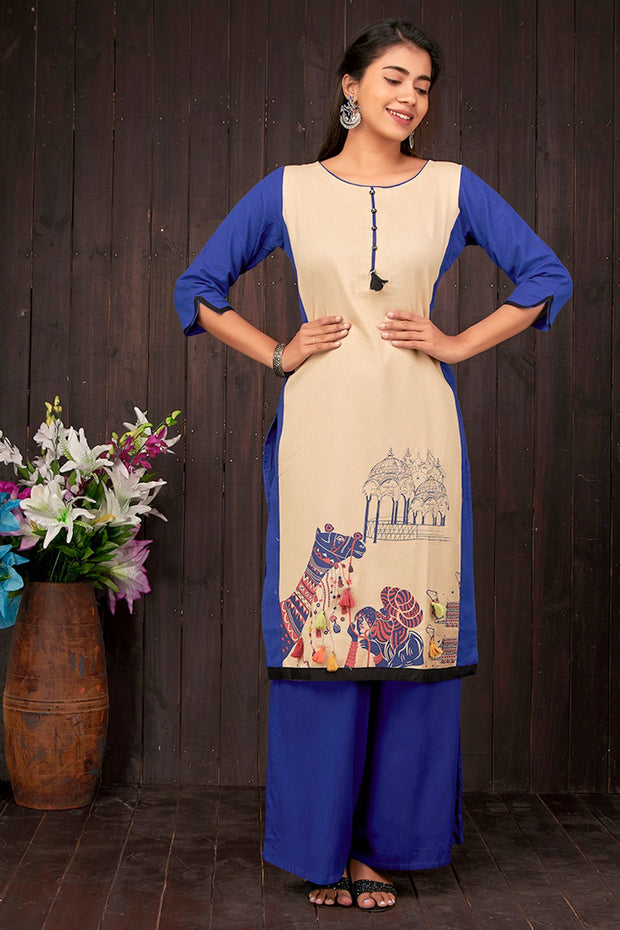 Abstract Camel Design With Tassel Kurta- Beig & Blue - Maybell Womens Fashion