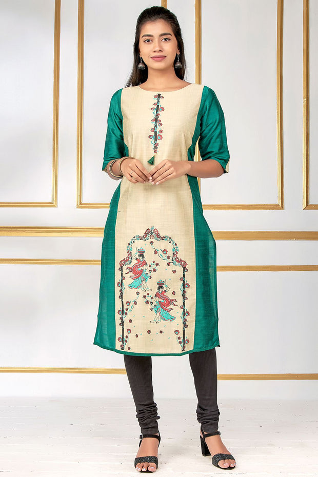 Abstract Lady With Pot Design Kurta - Green - Maybell Womens Fashion