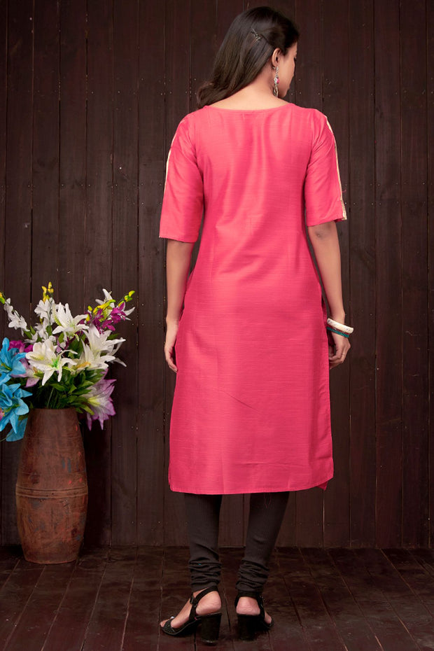 Abstract Lady With Pot Design Kurta - Pink - Maybell Womens Fashion