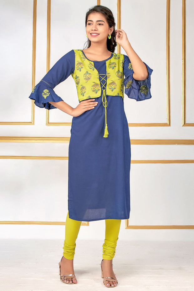 Jacket Design Bell Sleeve Embroidered Kurti – Navy Blue - Maybell Womens Fashion