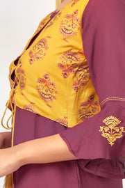 Jacket Design Bell Sleeve Embroidered Kurta - Maroon - Maybell Womens Fashion