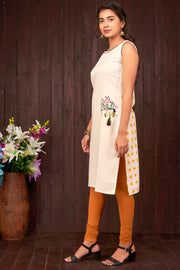 Placement Auto Embroidered Kurta – Off-White & Mustard - Maybell Womens Fashion