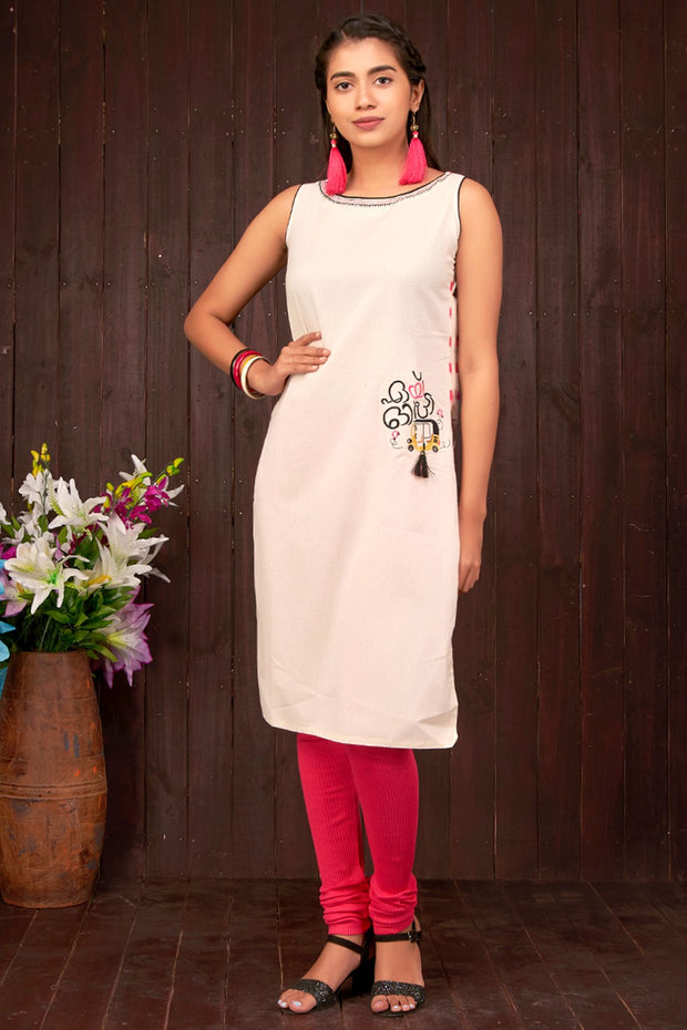 Placement Auto Embroidered Kurta - Off-White & Pink - Maybell Womens Fashion