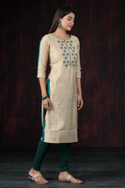 Star Embroidered Dobby Pattern Kurta - Beige