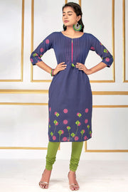 Printed Sleeve With Pleated Neckline Kurta – Navy Blue - Maybell Womens Fashion