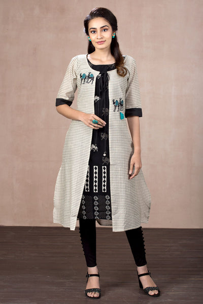 Batik Printed Kurta With Checkered Jacket - Black - Maybell Womens Fashion