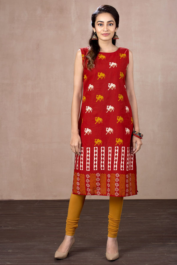 Batik Printed Kurta With Checkered Jacket - Red - Maybell Womens Fashion