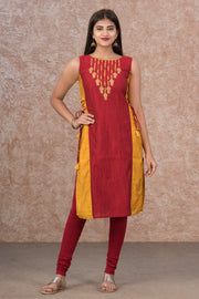 Lantern Printed Paneled Kurta - Red