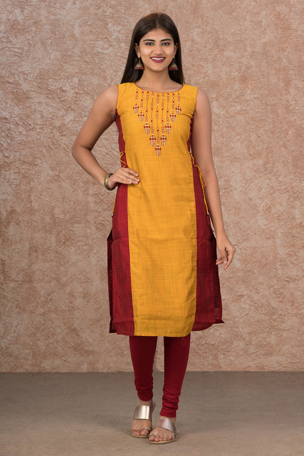 Lantern Printed Paneled Kurta - Yellow