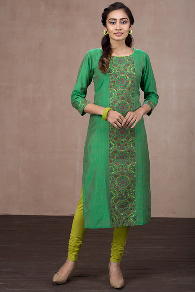 Solid Panel Print Kurta - Green - Maybell Womens Fashion