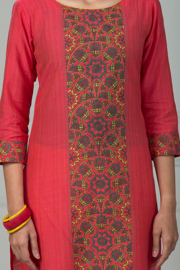 Solid Panel Print Kurta - Peach - Maybell Womens Fashion