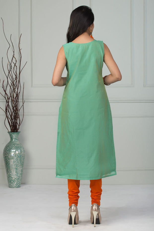 Solid Embroidery Kurta With Tassel - Green - Maybell Womens Fashion