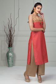 Solid Embroidery Kurta With Tassel - Peach - Maybell Womens Fashion