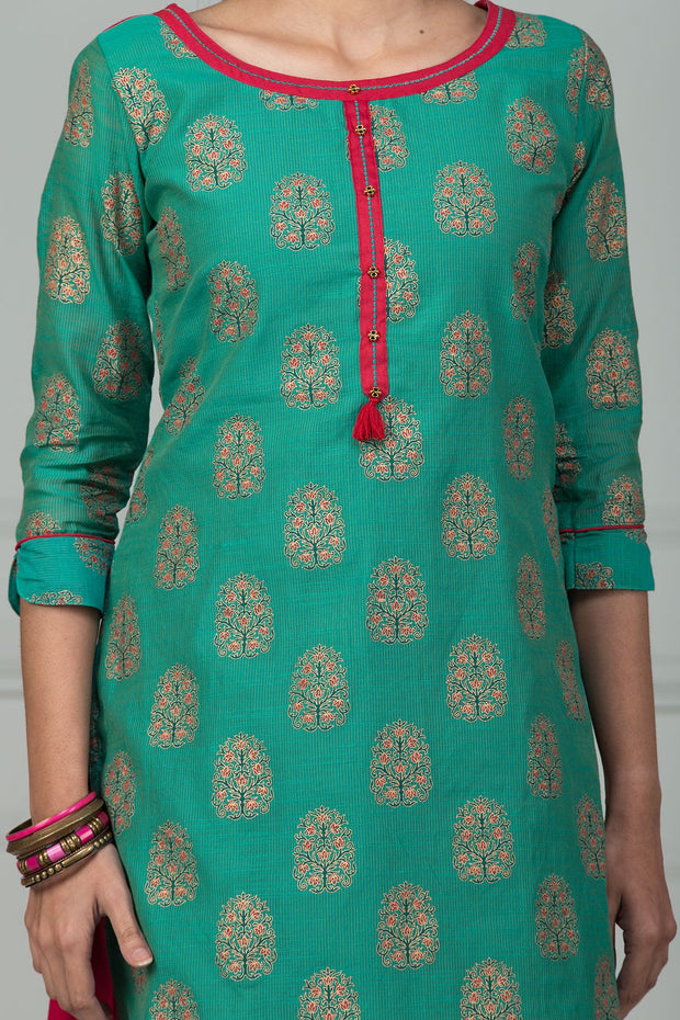 All Over Ethnic Motif Print Kurta - Blue - Maybell Womens Fashion