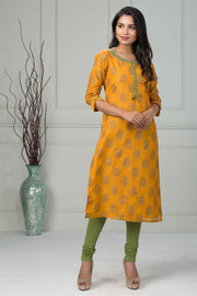 Abstract printed kurti - Mustard - Maybell Womens Fashion