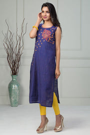 Floral Placement Printed Kurta - Violet - Maybell Womens Fashion