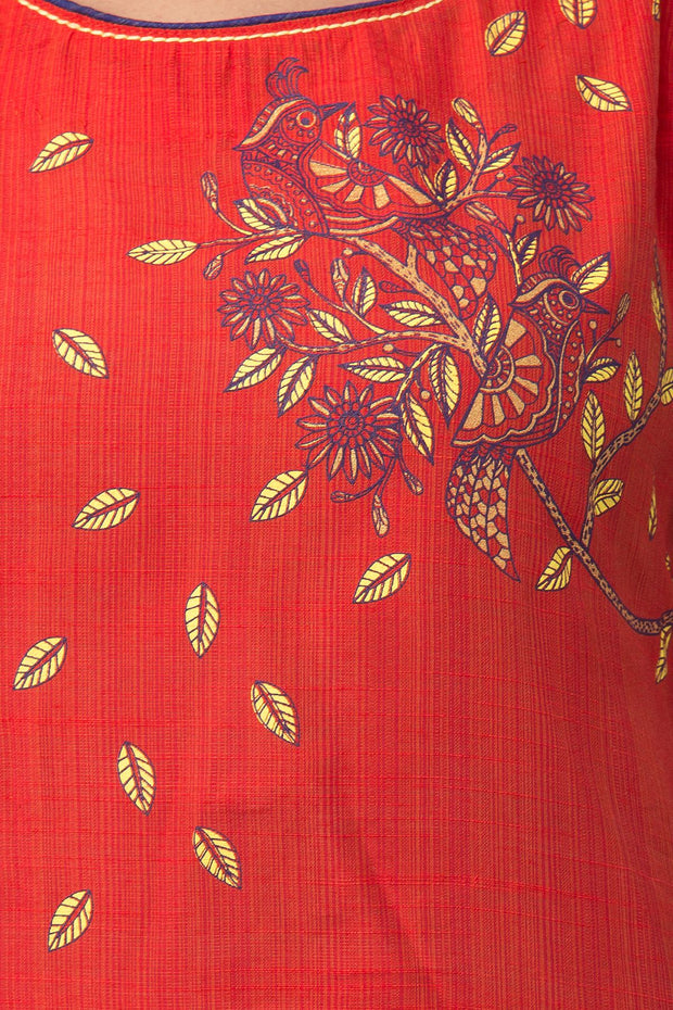 Floral Placement Printed Kurta - Red - Maybell Womens Fashion