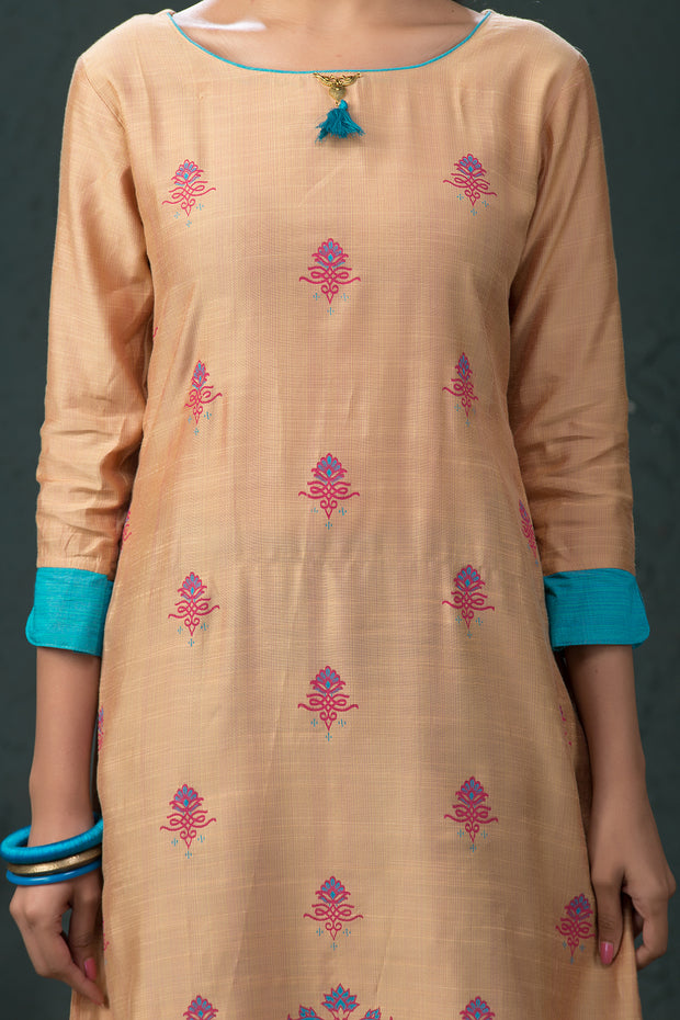 All Over Ethnic Abstract Print Kurta - Beige - Maybell Womens Fashion