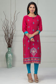 All Over Ethnic Abstract Print Kurta - Pink - Maybell Womens Fashion