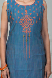 Placement Geometric Printed Kurta – Seablue - Maybell Womens Fashion