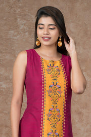 Peacock Placement Printed Paneled Kurta - Magenta & Mustard