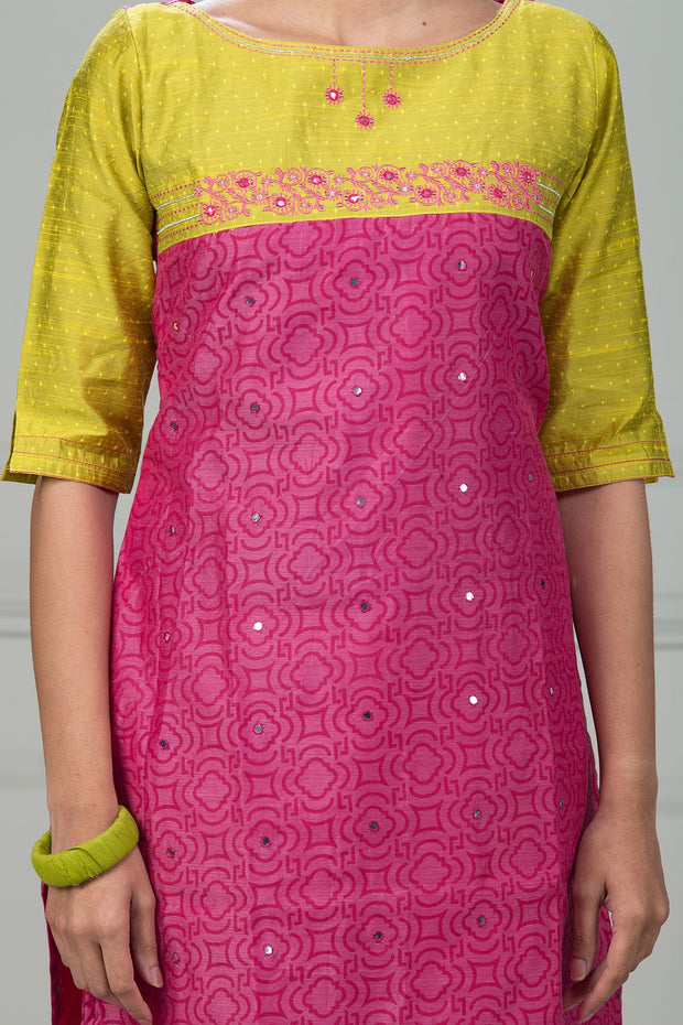 Embroidered Mirror Work Kurta - Pink - Maybell Womens Fashion