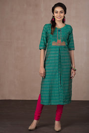 Embroidery Pin Tuck Kurta - Green - Maybell Womens Fashion