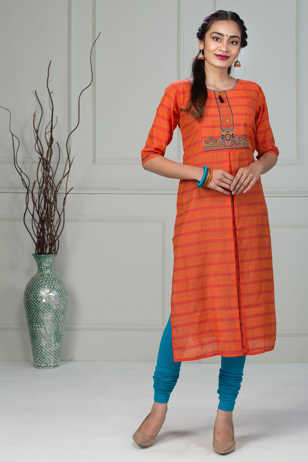 Embroidery Pin Tuck Kurta - Orange - Maybell Womens Fashion