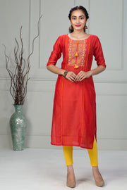 Printed Kurta With Tassel - Orange - Maybell Womens Fashion