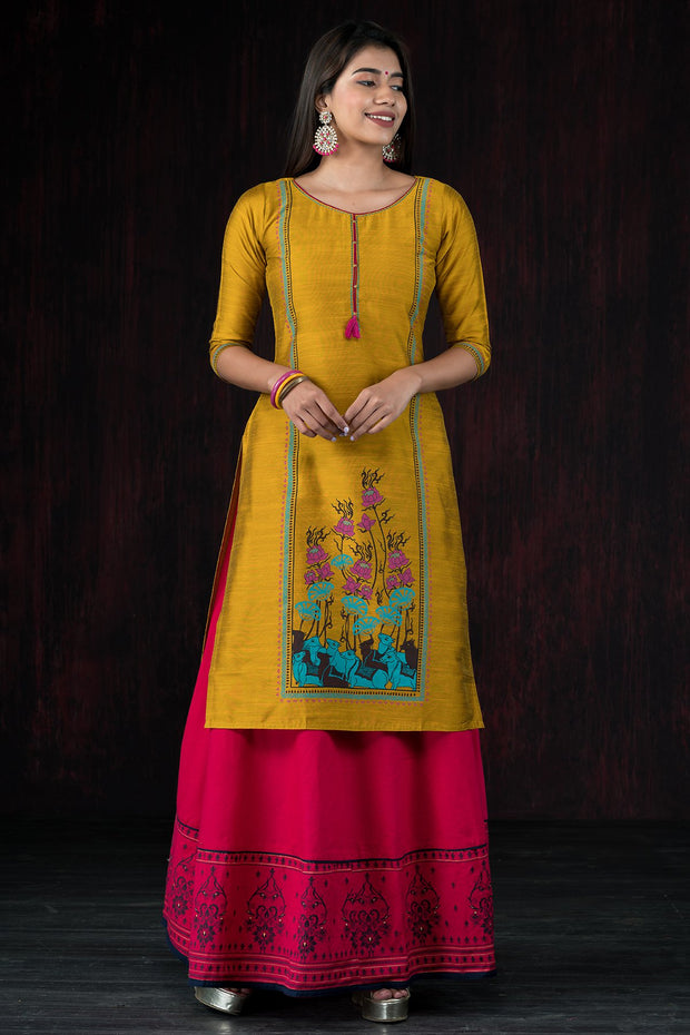 Traditional Lotus Fusion Printed Kurta - Mustard
