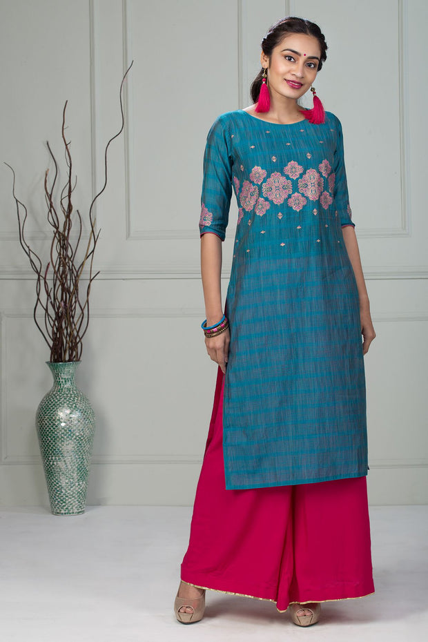 Printed Bottom Notch Kurta - Turquoise - Maybell Womens Fashion