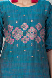 Placement Printed  Kurta - Turquoise - Maybell Womens Fashion