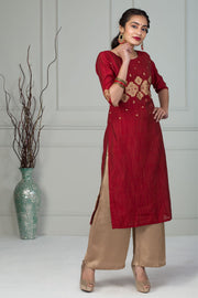 Placement Printed Kurta - Maroon - Maybell Womens Fashion