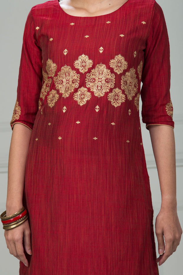 Printed Bottom Notch Kurta - Maroon - Maybell Womens Fashion