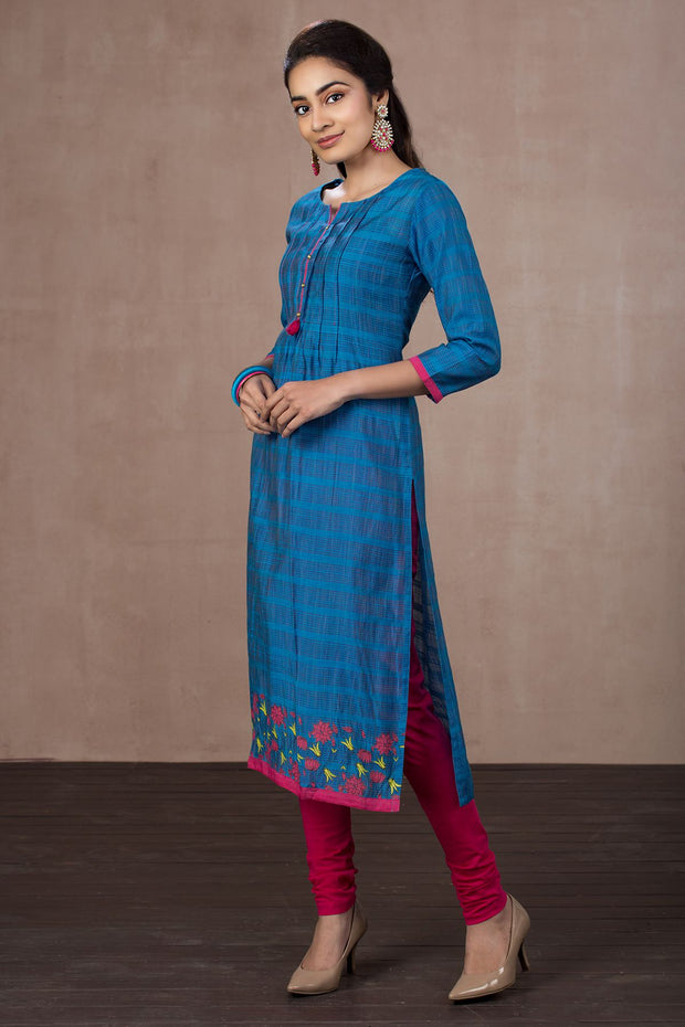 Textured & Pleated Placement Print Kurta - Blue - Maybell Womens Fashion