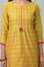 Textured & Pleated Placement Print Kurta  - Mustard - Maybell Womens Fashion