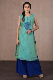 Printed Kurta With The Side Knots - Aqua green - Maybell Womens Fashion