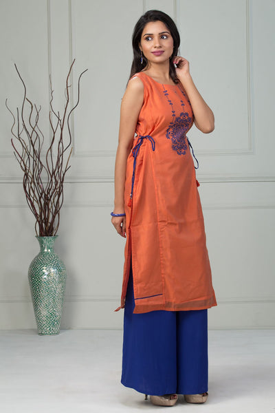 Printed Kurta With The Side Knots - Orange - Maybell Womens Fashion