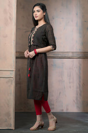 Ethnic Floral Embroidered Jacket Style Kurta - Black