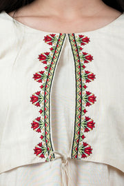 Ethnic Floral Embroidered Jacket Style Kurta - Off White
