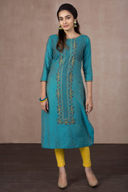 Placement Print Kurta - Blue - Maybell Womens Fashion