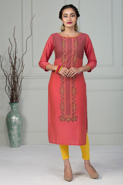 Placement Print Kurta - Red - Maybell Womens Fashion