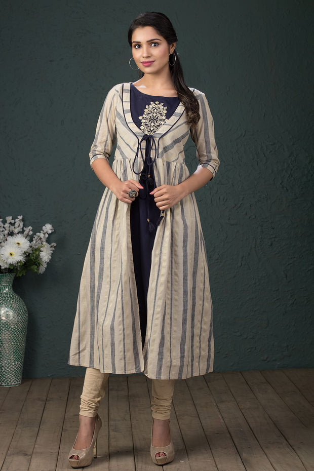 Solid Embroidered Kurta With Strip Jacket - Dark blue - Maybell Womens Fashion