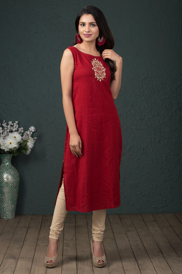Solid Embroidered Kurta With Strip Jacket - Maroon - Maybell Womens Fashion