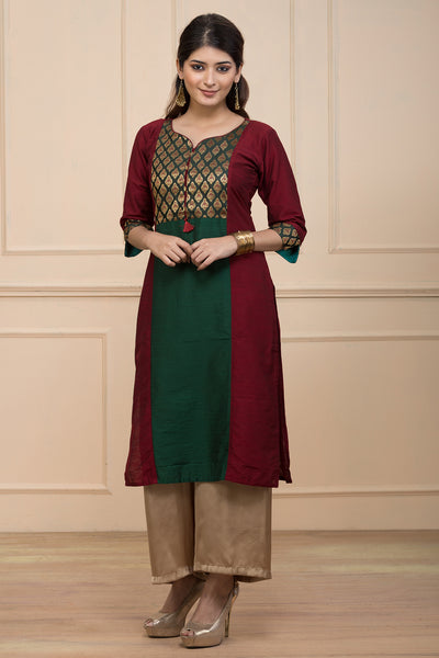 Printed kurta - Maroon - Maybell Womens Fashion