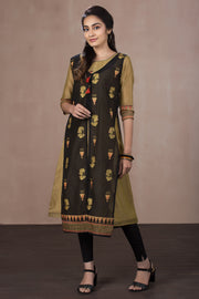 Abstract Women Print Double Layer Kurta - Green