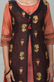 Abstract Women Print Double Layer Kurta - Peach - Maybell Womens Fashion